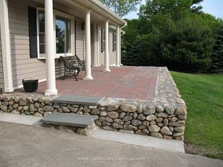 New England Fieldstone Walls with paver patio