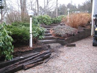 Old Railroad Tie Retaining Walls & Steps