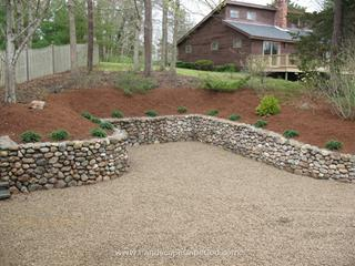 Medium Round New England Fieldstone Retaining Wall with precast steps
