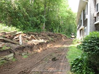 Removal of old timber retaining wall.