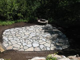 Natural Stone Fire Pit Construction on Cape Cod by ML Enterprises