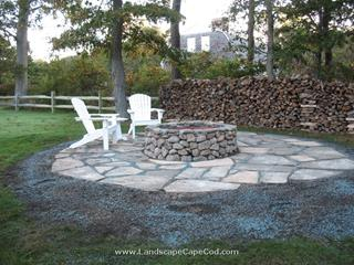 Round Fieldstove Fire Pit with irregular blue stone patio