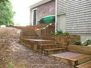 Patio Pavers with Timber Steps