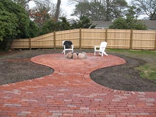 Patio and Fire Pit Installation in Harwich. Hydro seeding finish.