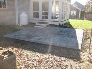 New landscape installation including plantings, lawn, 2 patios, paver walk way, cobblestone apron and edging.