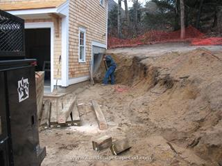 Retaining Wall and propane gas tank pit for Minglewood Homes in Chatham