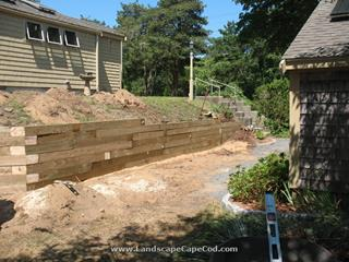 Landscape Timber Retaining Walls in East Harwich